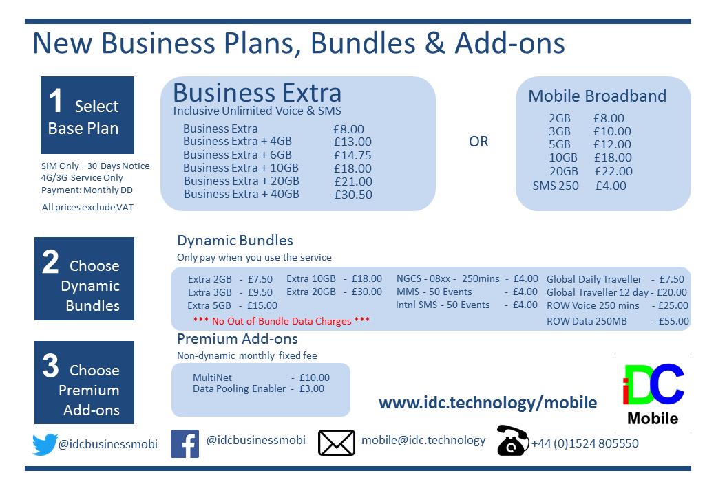 iDC Mobile Tariff Card
